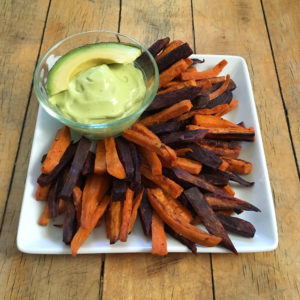 sweet potato fries and avo mousse
