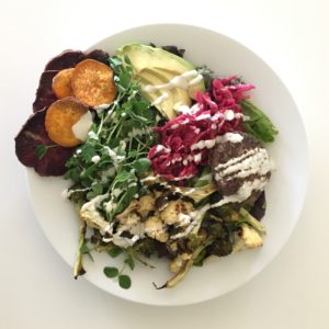 Climax Salad with Lemon Tahini Dressing